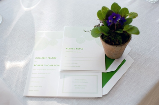 Kate Spade Green Lanterns Wedding Invitation