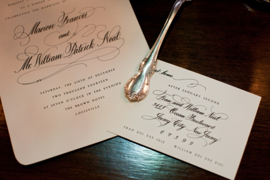 Silver Bevel Calligraphy Wedding Invitation