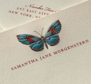 Hand Engraved Ecruwhite Notes with Butterfly