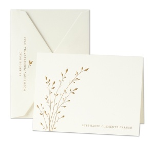 Pearl White Notes with Delicate Branch