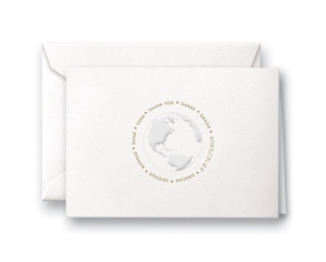 Pearl White Multi-Lingual Globe Thank You Notes