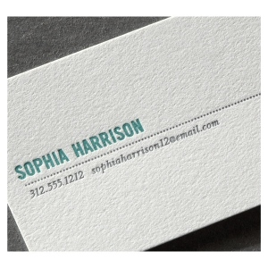 Pearl White Calling Card with Dotted Rule