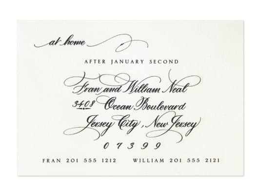 Black Ink Calligraphy Wedding Invitation