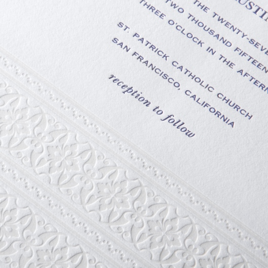 blind embossed wedding invitation