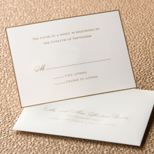 gold engraved wedding rsvp card