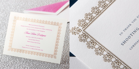 gold engraved birthday party invitation