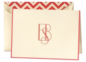 red chevron personalized monogram notes