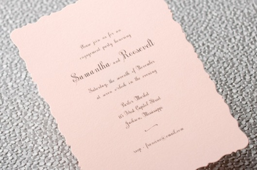 pink die cut engagement announcement