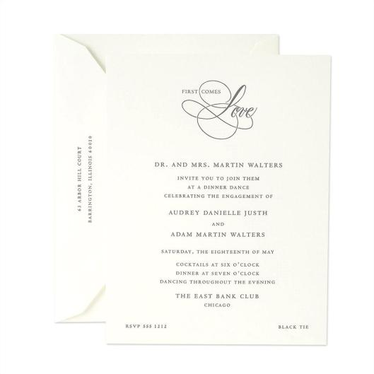 engraved engagement wedding invitation