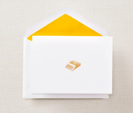 gold engraved typewriter notes