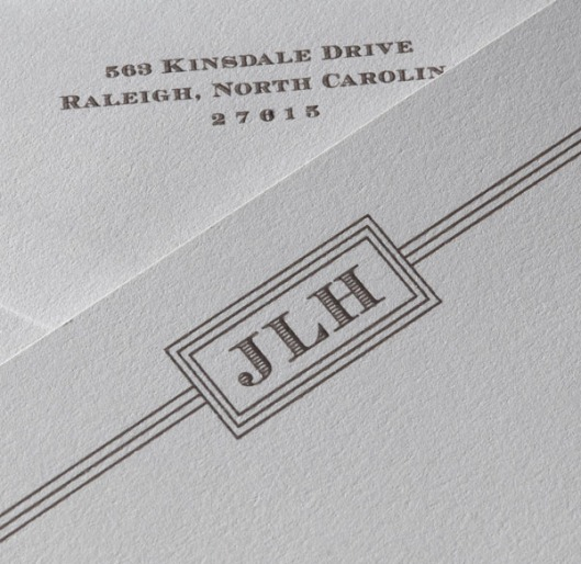 informal monogram note