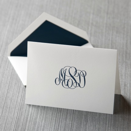 personalized monogram note card