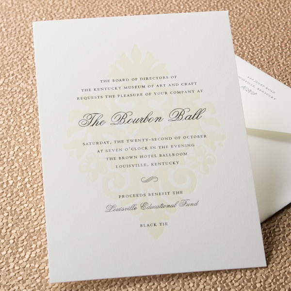 Formal dinner invitations are properly engraved on ecru or white