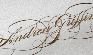 gold engraved calligraphy calling card