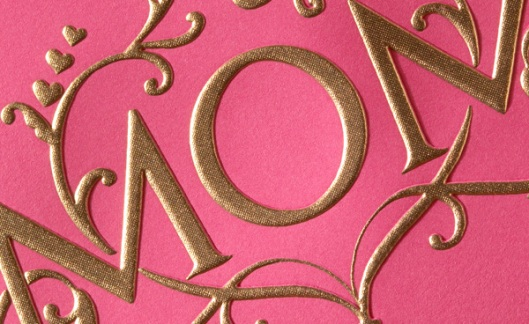 gold engraved Mother's Day greeting card