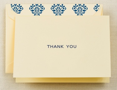 Navy Blue Thank You Note with Fashion Liner