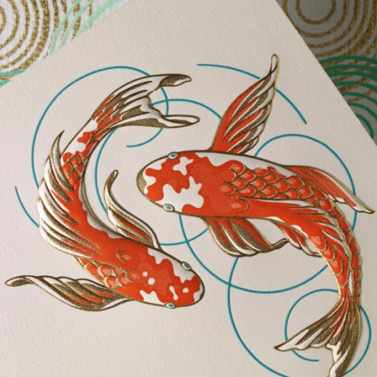 signature stationery koi fish