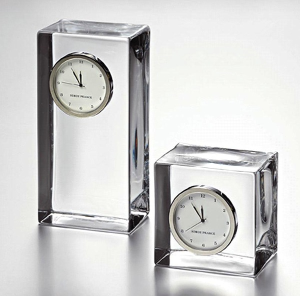 simon pearce glass desk clock