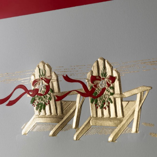engraved adirondack chairs holiday greeting card