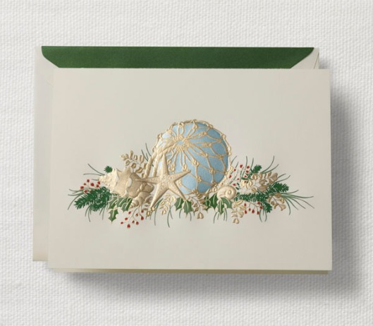 engraved coastal buoy holiday greeting card