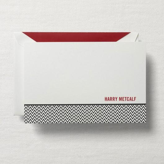 personalized stationery card chevron