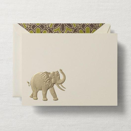 engraved elephant card