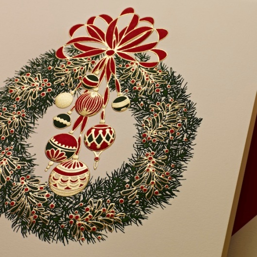 engraved wreath holiday card