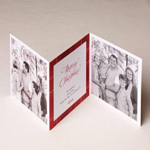 red plaid holiday photo card