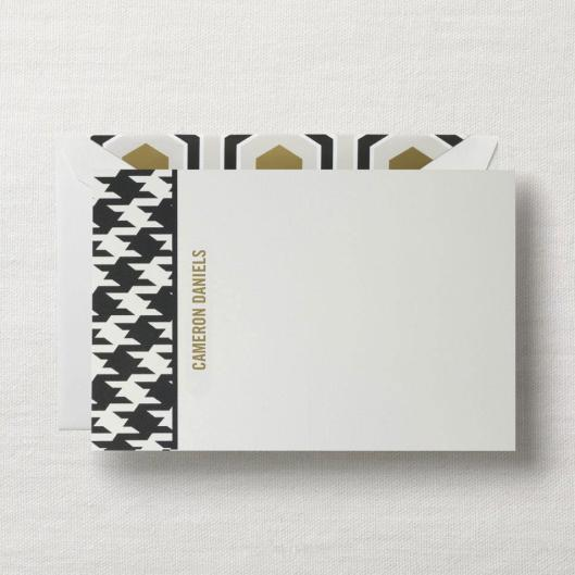 houndstooth personalized stationery cards