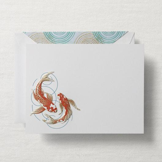 engraved koi fish stationery