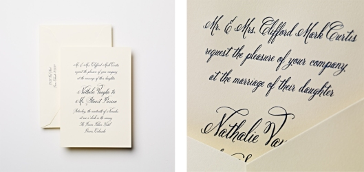 engraved ecruwhite calligraphed wedding invitation