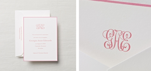 Letterpress LittleLady-Monogram-Baby-Girl-Announcement