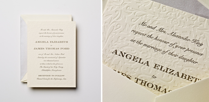 letterpress ecruwhite wedding invitation
