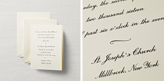 engraved folded sheet wedding invitation