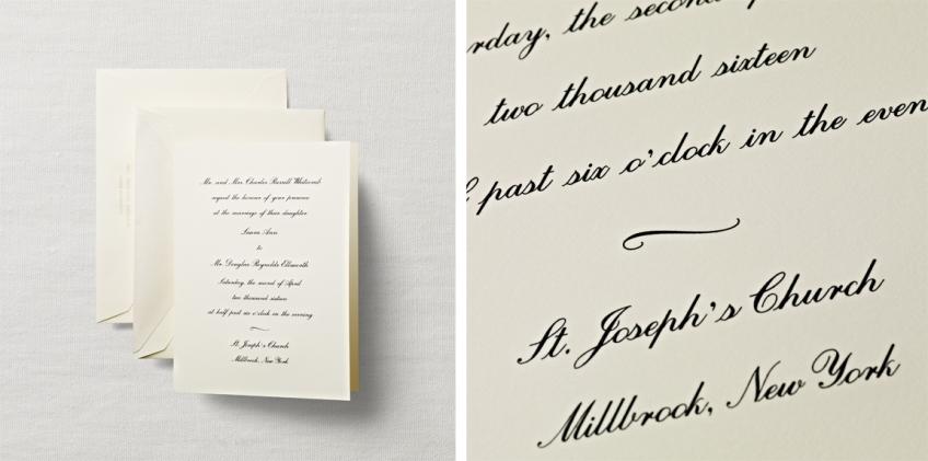 engraved folded sheet wedding invitation