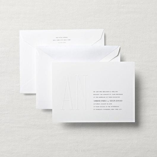blind debossed wedding invitation