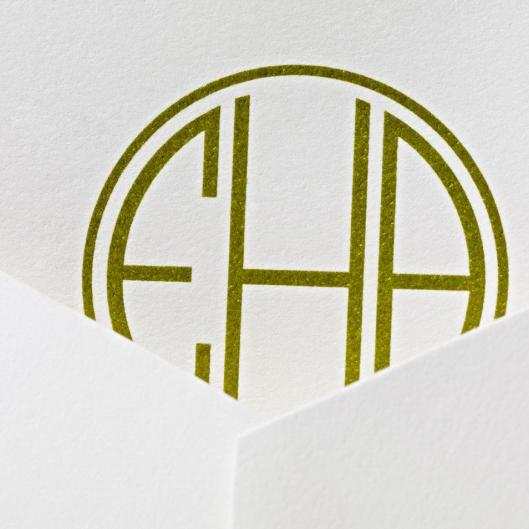 earthy green monogram