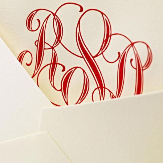 rich red engraved monogram