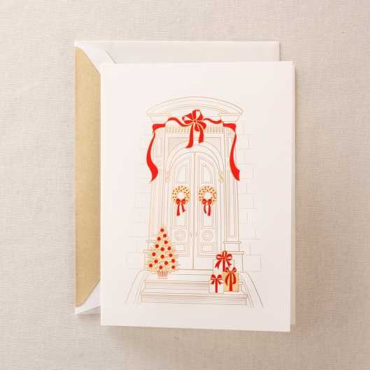engraved brownstone holiday card