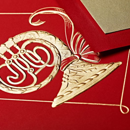 engraved french horn greeting card