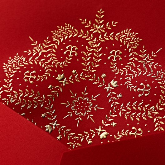 engraved garland star greeting card