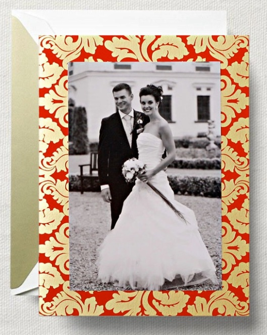 engraved gold damask photo greeting card