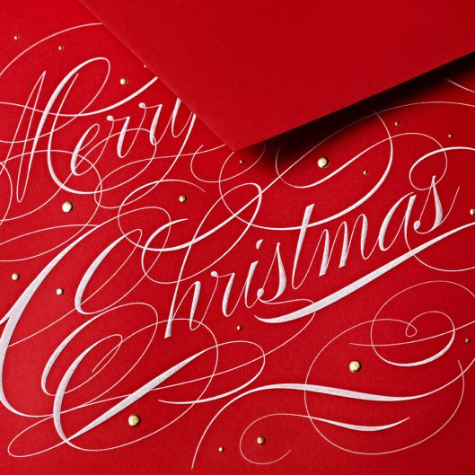 engraved merry christmas greeting card