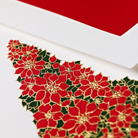 engraved poinsettia tree holiday card