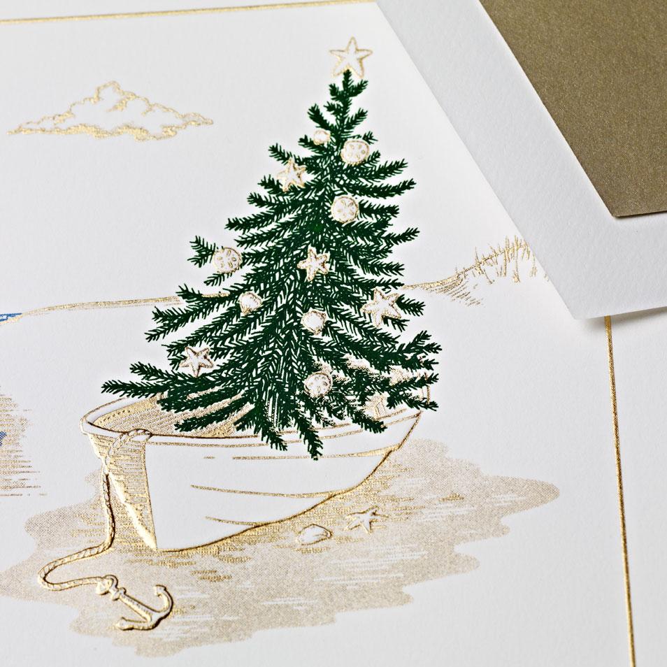 Engraved Seaside Holiday Card