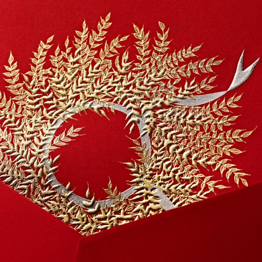 engraved wheat wreath greeting card