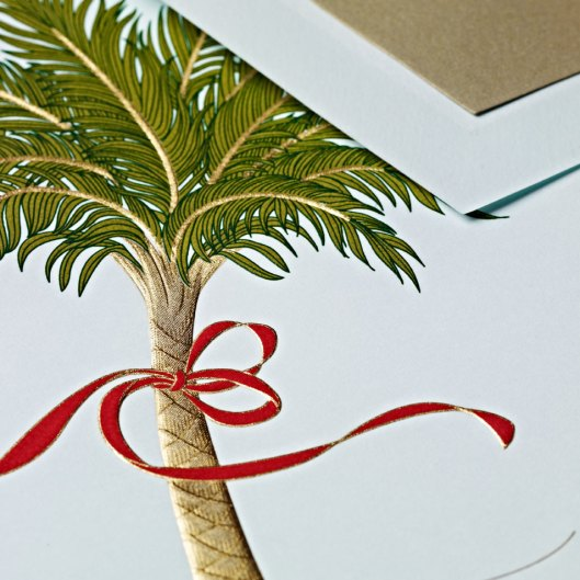 hand engraved palm tree greeting card