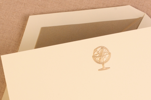 engraved globe card